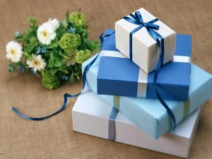 Blue wrapped baby boy gifts